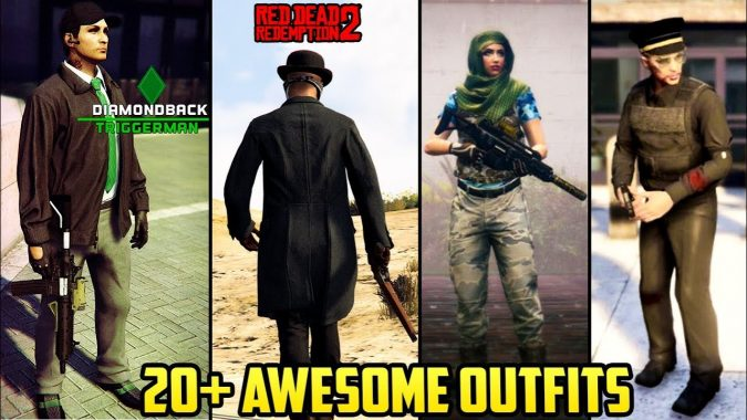 GTA Online 20+ AWESOME OUTFITS! (Red Dead Redemption 2 The Mob Collection Police Outfit U0026 MORE ...